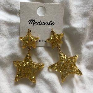 NWT Madewell Glitter Star Statement Earrings